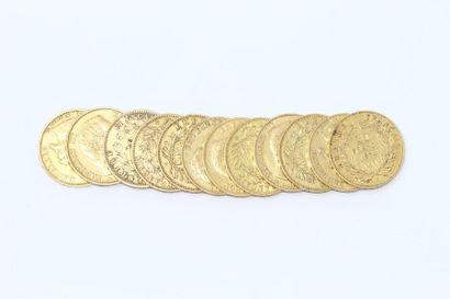 Lot de 12 pièces en or de 20 francs Napoleon...