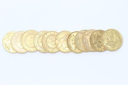 Lot de 11 pièces en or comprenant :  - 4...