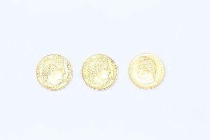 Lot de 3 pièces en or comprenant :  - 20...