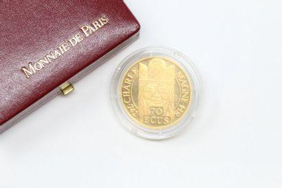 Jeton en Or 22k (920) 70 ecus / 500 francs...