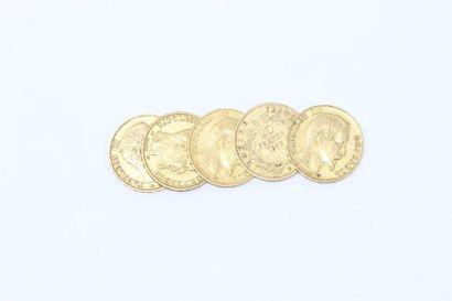 Lot de cinq pièces en or de 20 Francs Napoléon...