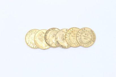 Lot de six pièces en or de 20 Francs Napoléon...