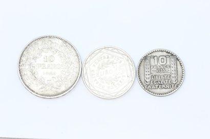 Ensemble de trois pièces en argent : 10 francs...