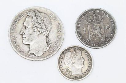 Ensemble de quatre pièces en argent :  Belgique...
