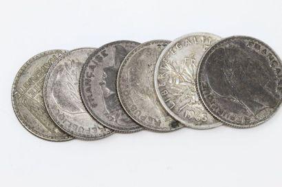 Ensemble de pièces françaises en argent :...