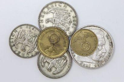 Ensemble de pièces allemandes en argent :...