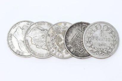 Lot de pièces en argent de 5 Francs ou 5...