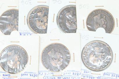 Lot de sept pièces en bronze de 10 centimes...