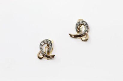 Paire de clips d'oreilles en or jaune 18k...