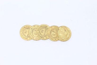 Ensemble de cinq pièces en or de 20 francs...