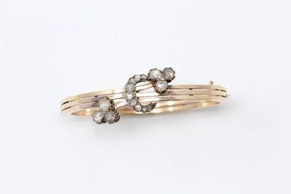 Bracelet rigide en or jaune 14k (585) orné...
