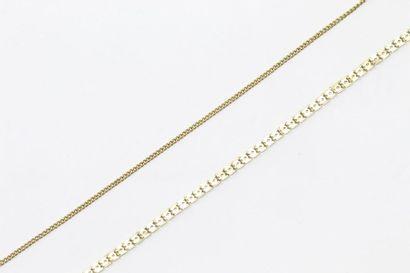 Ensemble de deux chaines en or jaune 18k...