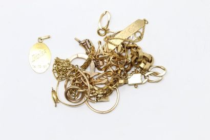 Débris d'or jaune 18k (750) dont : parties...