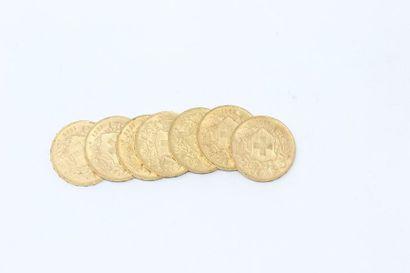 SUISSE - Ensemble de sept pièces en or de...