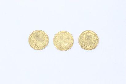Ensemble de trois pièces en or de 20 francs...
