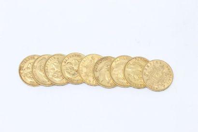 Ensemble de neuf pièces en or de 20 francs...