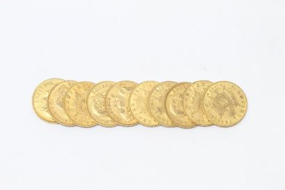 Ensemble de dix pièces en or de 20 francs...