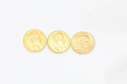 Trois pièces en or de 20 francs comprenant...