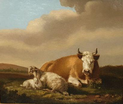 ECOLE XIXEME  Vaches et moutons  Huile sur...