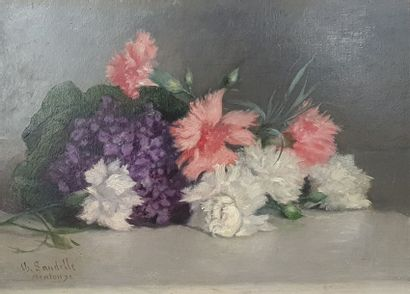 LANDELLE Charles LANDELLE Charles, 1821-1908,  Violettes et œillets, Menton 1892,...