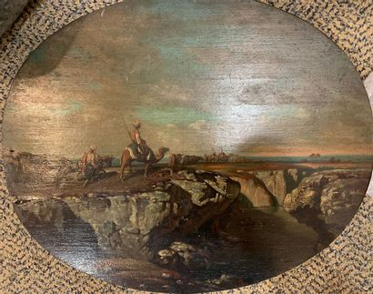LAPOQUE LAPOQUE, XIXe,  Caravanne en bord de mer,  huile sur panneau de format ovale...