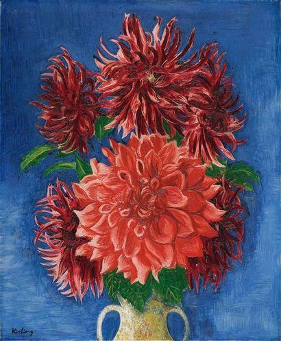 Moise Kisling Moïse KISLING, 1891-1953  Vase de dahlias, circa 1939  huile sur toile...