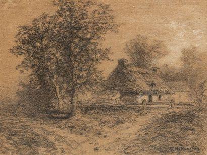 ROUSSEAU THEODORE  1812 - 1867  La chaumière...