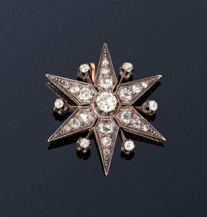 Pendentif étoile en or jaune 18K (750) et...