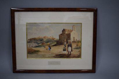 ECOLE XIXe  Chapelle près d'Athènes, aquarelle....