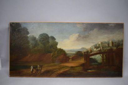ÉCOLE FRANCAISE du XVIII siècle    Paysage...