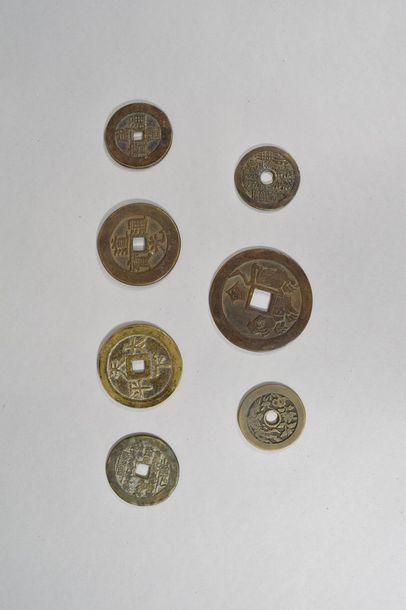 7 pièces de monnaie et médailles  Chine,...