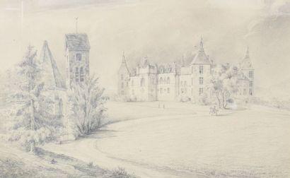 Ecole du XIXème siècle  Vue du Chateau de...