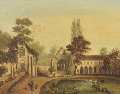 Ecole du XVIIIème siècle  La promenade  Huile...