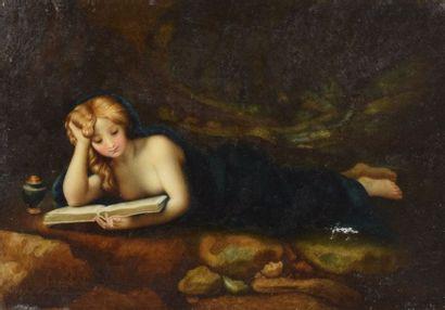 ECOLE XIXème  Femme allongée lisant  Huile...