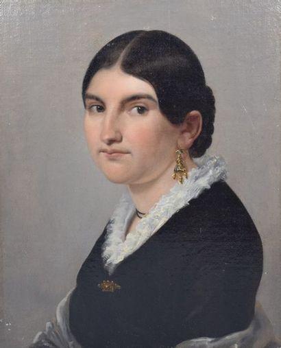 Ecole du XIXème siècle  Portrait de dame...