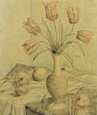 CHALLOU Jacques, XXe siècle,  Nature morte...