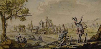 ECOLE ITALIENNE du XVIIIe siècle    Paysage...