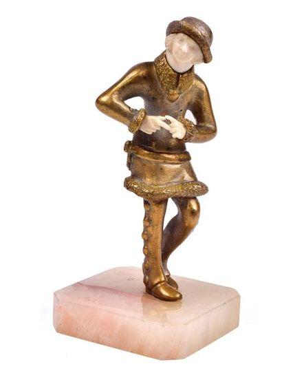 Louis BARTHELEMY  Hiver. Sculpture chryselephantine...