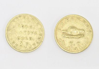 Gold 10-dollar coin Miners Bank (1849).  TB to APC.  Weight: 16.90 g.