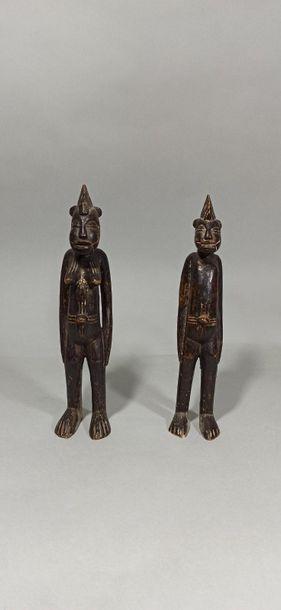 Couple de deux statuettes Senoufo, Côte d'Ivoire....