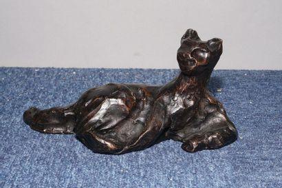 ALBY Henri, 1929-2002,  Le songe du félin,bronze...