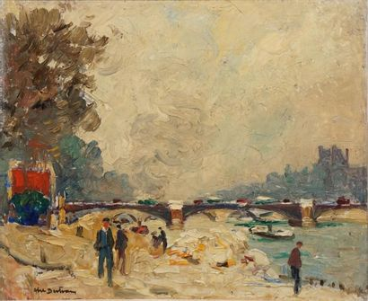 BERTRAM Abel, 1871-1954,  La Seine au Louvre,...