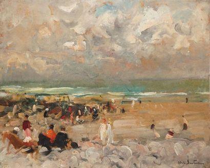 BERTRAM Abel, 1871-1954,  Bord de mer animé,...