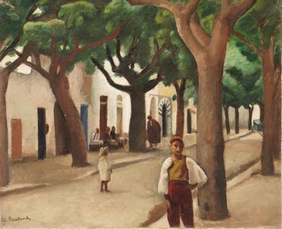 BOUCHAUD Étienne, 1898-1989,  Rue animée...