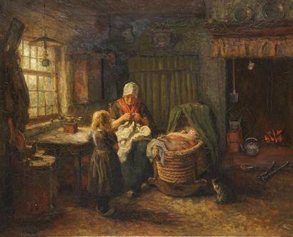 BRIËT Arthur, 1867-1939  Au coin du feu  huile...