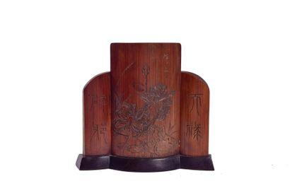 CHINE, XXème siècle  Petit écran en bambou...
