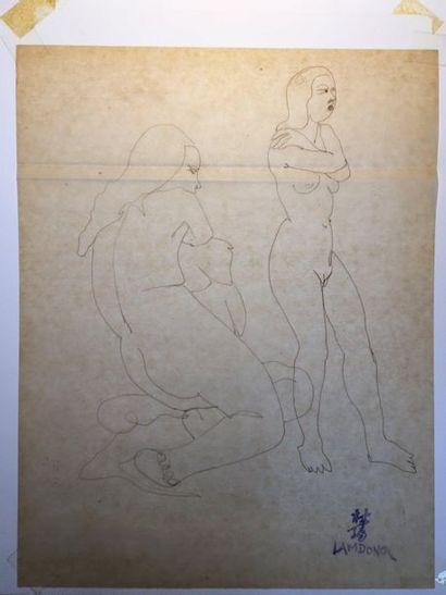 LAM-DONG, 1920-1987  Nus féminins et baigneuses...