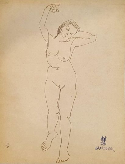 LAM-DONG (1920-1987)  Nus féminins en pied...