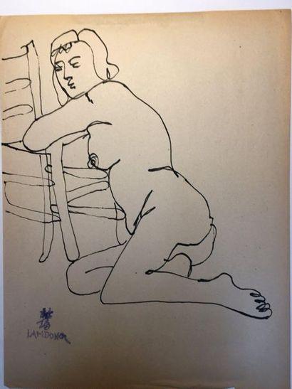 LAM-DONG (1920-1987)  Etude de nus  Trois...