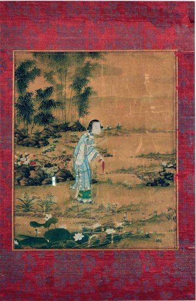CHINE, Début XIXe siècle  Encre polychrome...